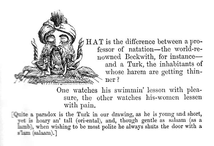 What is the difference between a professor of natation and a Turk, the inhabitants of whose harem are getting thinner? One watches his swimmin' lesson with pleasure, the other watches his-women lessen with pain