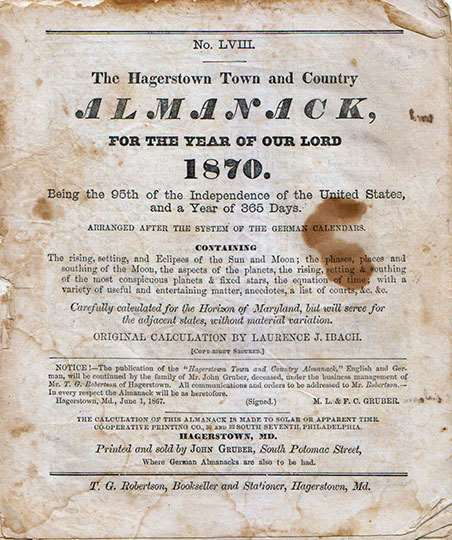 J. Gruber's Hagerstown Town and Country Almanack 1870