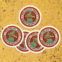 Set Socialist Party Kiss-Cut Stickers | Workers of the World Unite! | 5 Vinyl Stickers | Retro Socialism for Car Laptop Water Bottle Etc