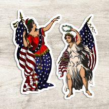Patriotic Columbia Sticker Set, 2 Large Vinyl Woman, United States Flag & Laurel Stickers American Lady Liberty for |Car Laptop Water Bottle