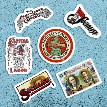 Socialist Sticker Variety Set    Workers of the World Unite! 6 Vinyl Stickers   Retro Socialism Capital & Labor for Water Bottle Laptop Etc