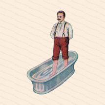 Edwardian Gentleman Taking a Foot Bath | Vintage Antique Water Cure | Man Standing in Tub Vector Color Clipart Instant Download PNG JPG SVG