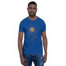 Sun and Birds T-Shirt: Land of the Midnight Sun | Antique Book Cover Blue and Gold Unisex Shirt, Flying Birds Shirt