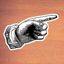 Victorian Pointing Finger #2 Large Vinyl Sticker: Retro Antique Style This Way Hand Point Decal Look Directional Attention Sticker Direction