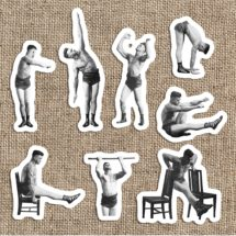 Old Fashioned Muscle Man #2 Sticker Set   8 Vinyl Workout Stickers   Exercise, Gym, Health, Fitness, Stretch, Stocking Stuffer Small Gift