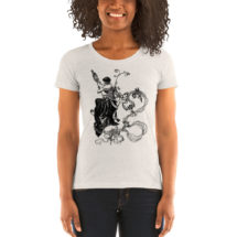 Textile Arts T-Shirt: Victorian Woman with Spindle and Cherubs | Victorian Women in Industry Ladies Shirt, Fiber Arts, Knitter's Gift