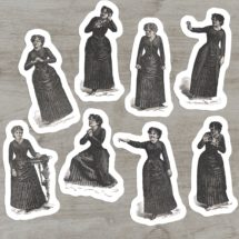 Victorian Mood Ladies #1 Sticker Set, 8 Vinyl Woman Emotions Despair Calm Scorn Horror Anger Fear Supplication Laughter