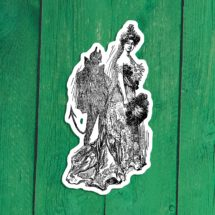 Shady Lady Sticker | Devil is in the Details | Retro Edwardian Woman with Demon Shadow Satan Vinyl Decal, Stocking Stuffer Small Gift