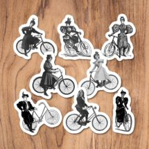 Bicycle Ladies Sticker Set, 8 Vinyl Victorian Women Riding Antique Bicycles Bike Cycling Feminist Feminism, Stocking Stuffer Small Gift