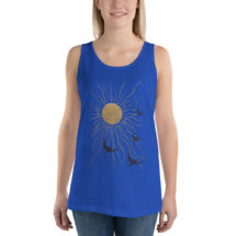 Sun and Birds Tank: Land of the Midnight Sun | Antique Book Cover Blue and Gold Unisex Tank Top, Flying Birds Shirt