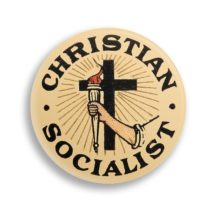 "Christian Socialist 2.25"" Pinback Button, Religious Leftist Round Badge Retro Socialism Pin Anti-Capitalist, Stocking Stuffer Gift"