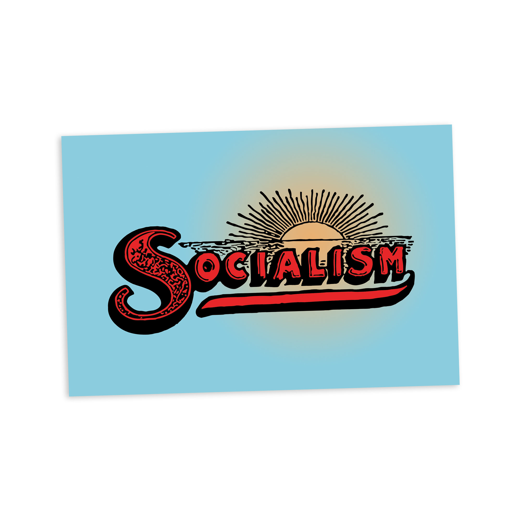 Socialism Sunrise 4×6 Postcard | Retro Socialist Flat Card Leftist Anti-Capitalist Edwardian, Stocking Stuffer Small Gift