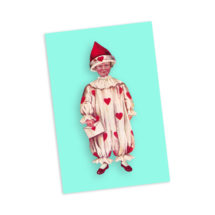 Fool For Your Love 4×6 Postcard Victorian Boy in Valentine Clown Pierrot Style Clown Suit with Hearts Flat Card, Stocking Stuffer Small Gift