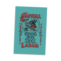 """Capital and Labor 4×6"""" Postcard Edwardian Socialism, Communist, Socialist   Retro Socialism Communism Leftist Antique Book Cover Flat Card"""
