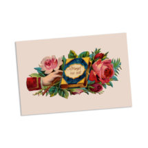 Forget Me Not Victorian Sentiment Postcard   Remembrance Victorian Hand & Roses Vintage Flowers Floral Flat Card Reminder, Small Gift