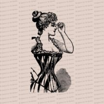 Digital Vintage Victorian Lady in Corset with Lorgnette |  Corseted Woman with Eyepiece Vector Clip Art Instant Download SVG PNG JPG