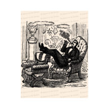 Cigar Smoking Victorian Man | Vintage Man Relaxing with Feet Up Vector Clipart | Instant Download SVG PNG JPG Digital