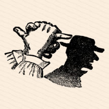 Vintage Victorian Shadow Puppet | 1890s Man Wearing Hat Shadow Vector Clipart | Human Head Hand Shadow Puppetry | Download SVG PNG JPG