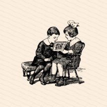 Vintage 1910s Reading Children | Brother and Sister, Boy and Girl Reading Magazine | Vector Clipart Instant Download SVG PNG JPG