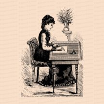 Digital Vintage Seated Victorian Woman Writing Letter at Desk   Vector Clipart Instant Download SVG PNG JPG