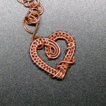 Intricate Raw Copper Wire Wrapped Heart Pendant, Valentines Day, Romantic Gift for Her, Handcrafted Jewelry for Necklace, Pure Copper