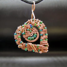 Intricate Raw Copper with Green & Blue Glass Beads Wire Wrapped Heart Pendant, Romantic Gift, Handcrafted Jewelry, Pure Copper