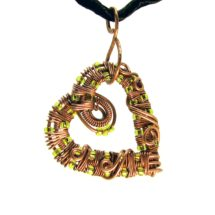 Intricate Raw Copper & Bright Green / Chartreuse Glass Beads Wire Wrapped Heart Pendant, Romantic Gift, Handcrafted Jewelry, Pure Copper