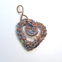 Intricate Raw Copper with Blue & Green Glass Beads Wire Wrapped Heart Pendant, Valentines Day, Romantic Gift, Handcrafted, Pure Copper