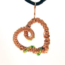 Intricate Raw Copper with Green Glass Beads Wire Wrapped Heart Pendant, Romantic Gift, Handcrafted Jewelry, Pure Copper