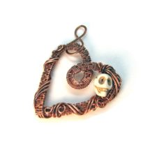 Heart and Skull Intricate Raw Copper & Bead Wire Wrapped Pendant, Valentines Day, Romantic Gift, Handcrafted, Pure Copper