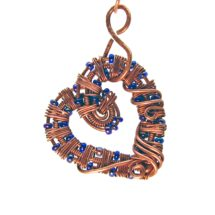 Intricate Raw Copper & Deep Blue Glass Beads Wire Wrapped Heart Pendant, Romantic Gift, Handcrafted Jewelry, Pure Copper