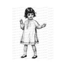 Vintage Little Girl in Dress with Curly Hair | Curly Haired Edwardian Child | Antique Children Vector Clipart Instant Download SVG PNG JPG