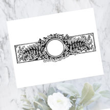 Vintage Rustic Woodland Border   Antique Victorian Round Frame with Flowers, Leaves, and Ferns   Vector Instant Download SVG PNG JPG