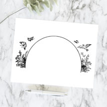 Vintage Rustic Nature Border Arch Vector Clipart | Antique Victorian Frame Element with Flowers, Butterflies, and Bird | SVG PNG JPG