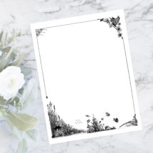 Vintage Rustic Nature Themed Border | Antique Frame with Wild Flowers, Birds, Butterflies, Frog, Water | Victorian Vector SVG PNG JPG