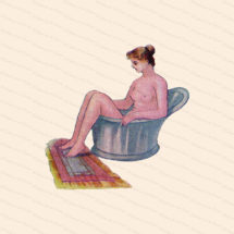 Edwardian Lady in Sitz Bath | Vintage Antique Water Cure | Woman in Old Fashioned Sitz Tub Color Vector Clipart Instant Download SVG PNG JPG