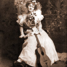 Antique Photo DOWNLOAD   Victorian Lady with Guitar & Flowers   female musician woman musical instrument photograph picture digital png jpg