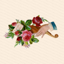 Victorian Hand Holding Flower Bouquet Roses I Adore Thee Shabby Chic Vector Clip Art, Vintage Antique Floral Romantic Love SVG PNG JPG