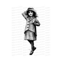 Vintage Young Girl Holding Hat on in a Breeze | Edwardian Child Vector Clipart Instant Download SVG PNG JPG