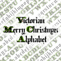 Victorian Christmas Alphabet Vector Clip Art  | Vintage 1880s Christmas Letters | Calligraphy Uppercase and Lowercase SVG & PNG