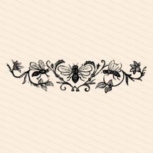Victorian Bees & Flowers   Antique Vintage 1870s Insect Embellishment   Bugs, Floral Vector Clip Art Instant Download PNG JPG SVG