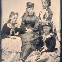 Antique Photo DOWNLOAD | Fashionable Young Ladies 1870s Teenagers | hats parasol tintype women curls photograph picture digital png jpg