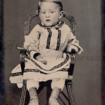 Antique Photo DOWNLOAD | Cute Victorian Toddler in High Chair | Baby Little Boy Child 1870s tintype tinted cheeks photograph picture digital