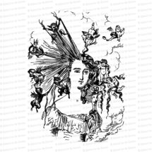 Edwardian Arranging the Hair Clipart   Vintage Antique Woman, Devils & Angels, Hairstyle   Beauty Vector Clipart SVG PNG JPG