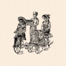 Vintage Victorian Children with Pets and Toys   Boy & Girls Playing with Bicycle, Carriage, Dolls, Rabbits, Bird Vector Clipart SVG PNG JPG
