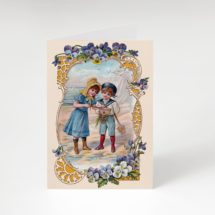 """Printable Seaside Victorian Children 5×7"""" A7 Notecard Boy & Girl Playing at Beach Ocean Pansies Floral Old Fashioned Summer greeting card"""