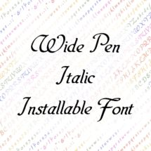 Vintage Penwork Wide Pen Italic Installable Font    Ornamental Uppercase & Lowercase Letters, Numbers, Punctuation Calligraphy OTF TTF