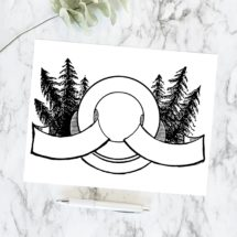 Vintage Pinetree Round Border & Banner   Antique Victorian Frame with Pine Trees   Vector Instant Download SVG PNG JPG