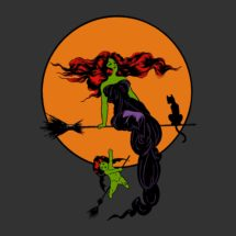 """Witchy T-Shirt, Retro Elegant """"Modern"""" Witch   Edwardian Halloween Occult Spooky Unisex Shirt, with Moon, Bat Winged Cherub and Black Cat"""