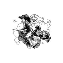 Vintage Edwardian 20th Century Witch Vector Clipart | Witch on Broom with Dog Jack-o-lantern Bats Moon Digital Instant Download SVG PNG JPG